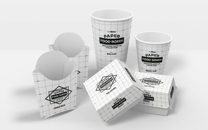 Fast Food Packaging (Boxes and Cups) Mockup