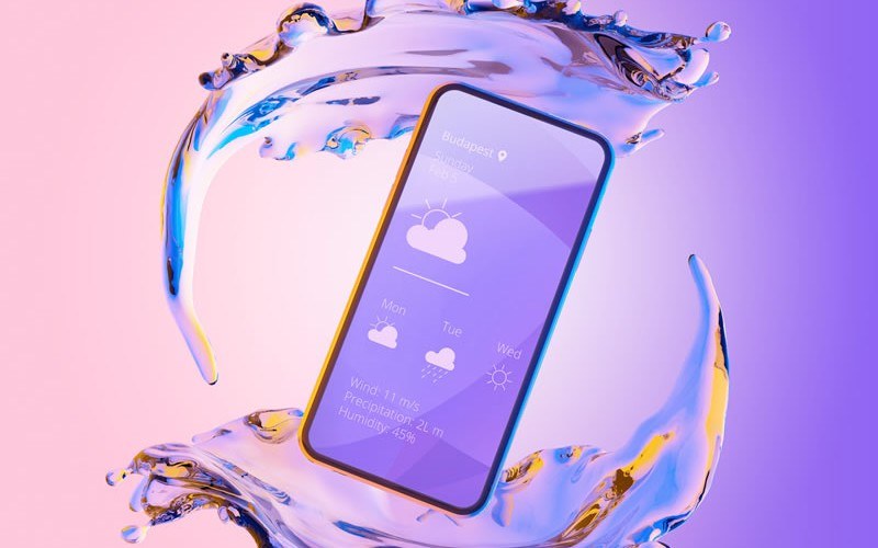 Mockups of iPhone & Samsung Phones in Liquid